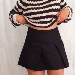 UO COPE Navy Wool Pleated Skirt